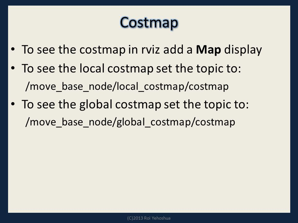 To see the costmap in rviz add a Map display To see the local costmap set the topic to: /move_base_node/local_costmap/costmap To see the global costma