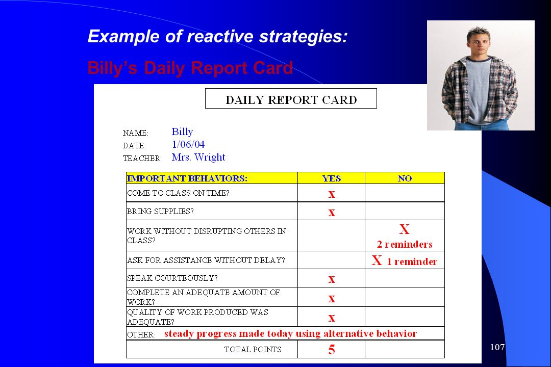 107 Example of reactive strategies: Billy's Daily Report Card