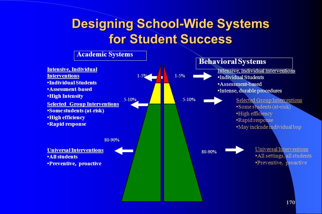 170 Academic Systems Behavioral Systems 1-5% 5-10% 80-90% Intensive, Individual Interventions Individual Students Assessment-based High Intensity Inte