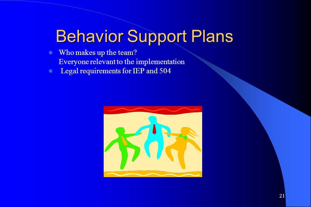 21 Behavior Support Plans Who makes up the team? Everyone relevant to the implementation Legal requirements for IEP and 504