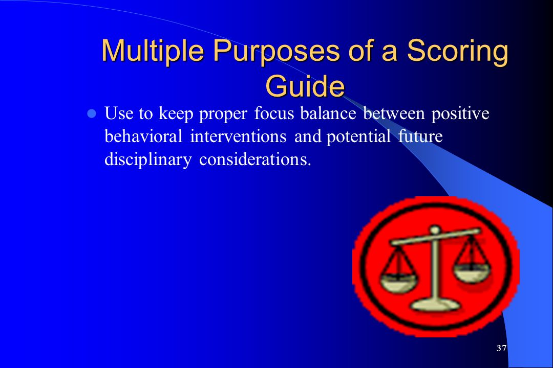 37 Multiple Purposes of a Scoring Guide Use to keep proper focus balance between positive behavioral interventions and potential future disciplinary c