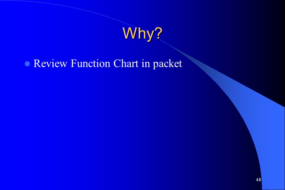48 Why? Review Function Chart in packet