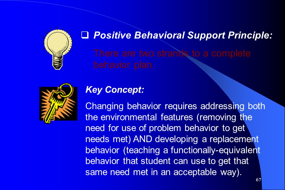 67  Positive Behavioral Support Principle: There are two strands to a complete behavior plan. Key Concept: Changing behavior requires addressing both