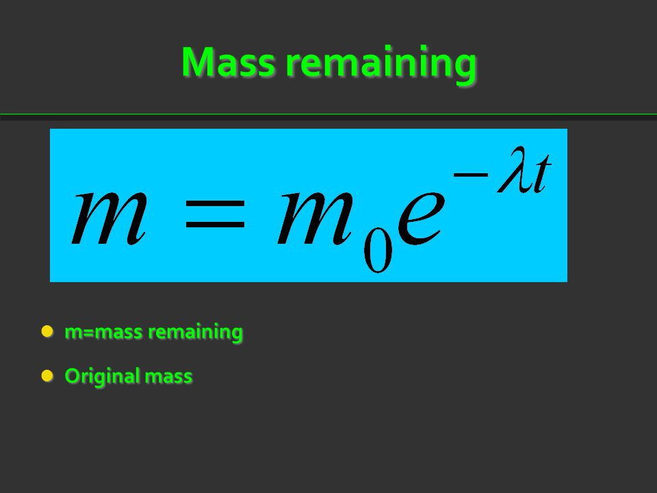Mass remaining m=mass remaining m=mass remaining Original mass Original mass
