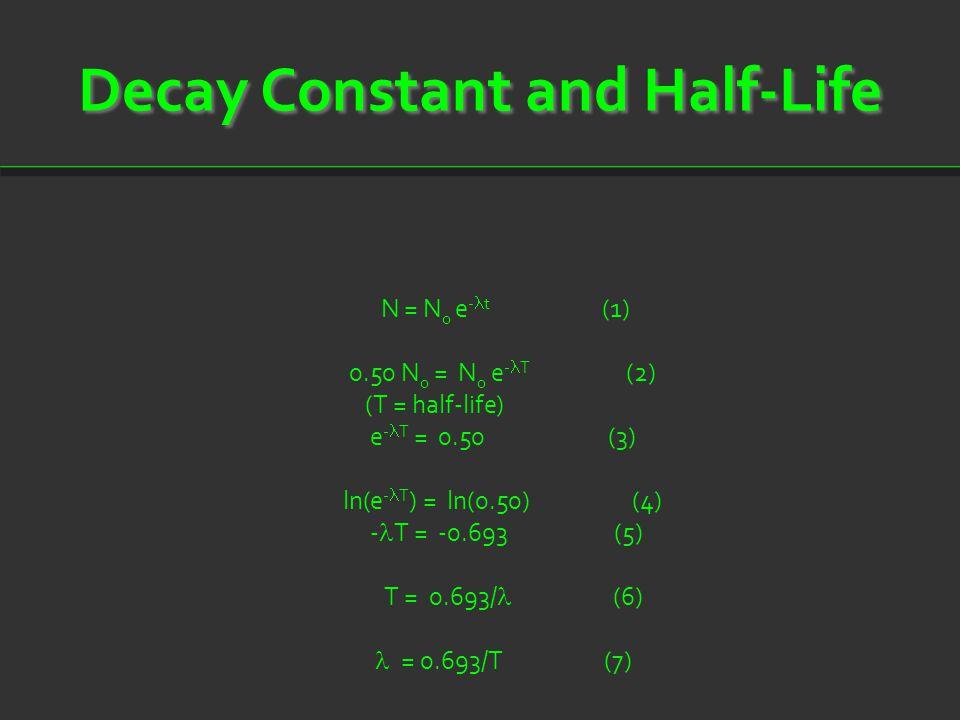 Decay Constant and Half-Life N = N 0 e - t (1) 0.50 N 0 = N 0 e - T (2) (T = half-life) e - T = 0.50 (3) ln(e - T ) = ln(0.50) (4) - T = -0.693 (5) T = 0.693/ (6) = 0.693/T (7)