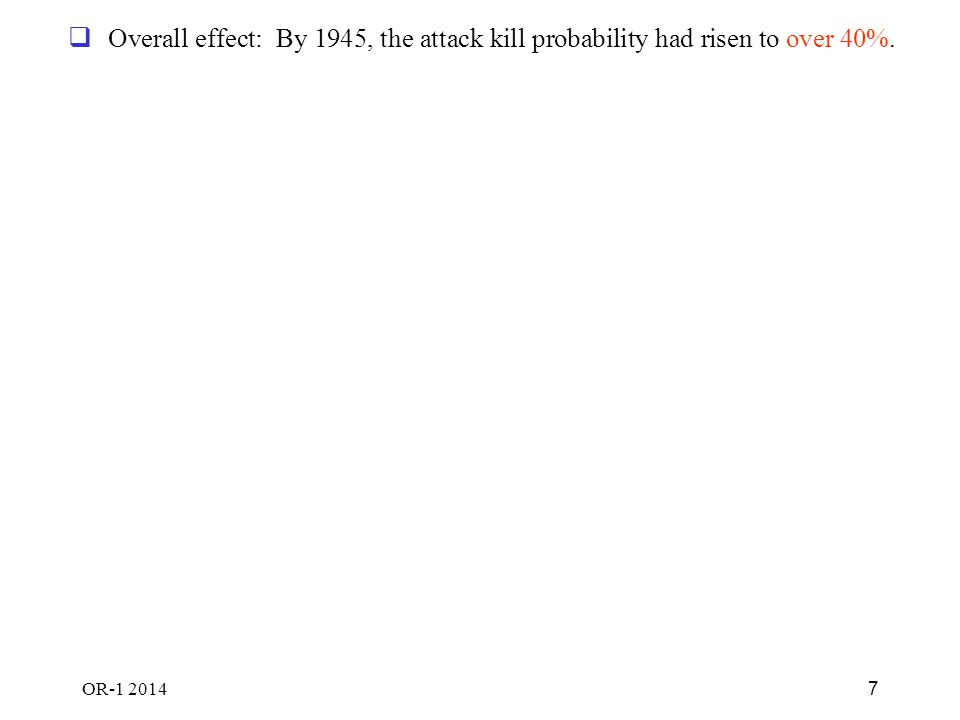 OR-1 2014 7  Overall effect: By 1945, the attack kill probability had risen to over 40%.