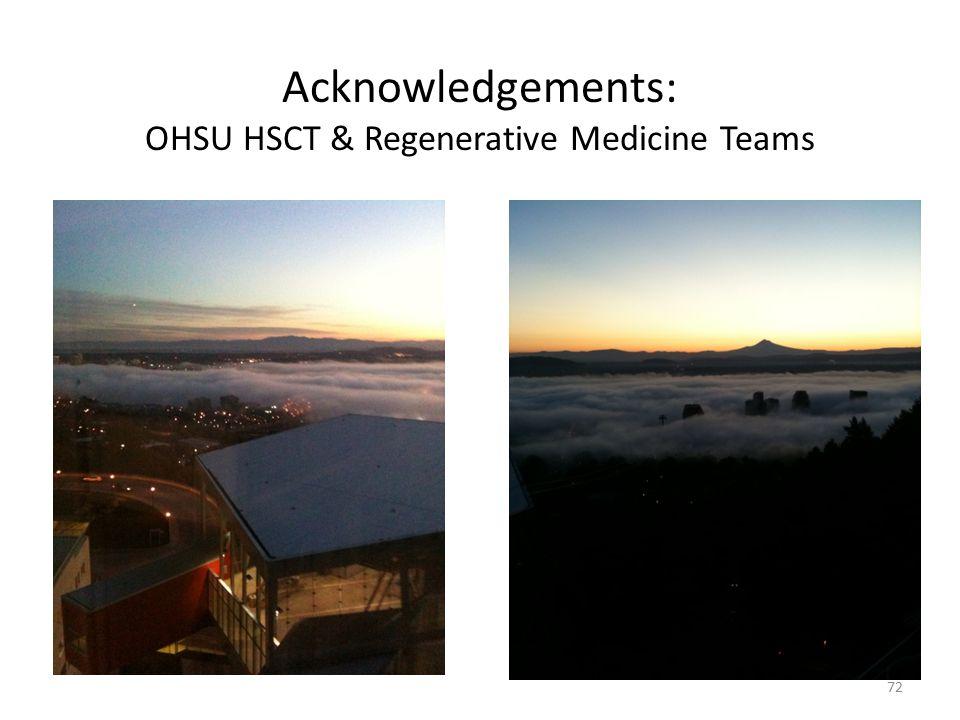 72 Acknowledgements: OHSU HSCT & Regenerative Medicine Teams