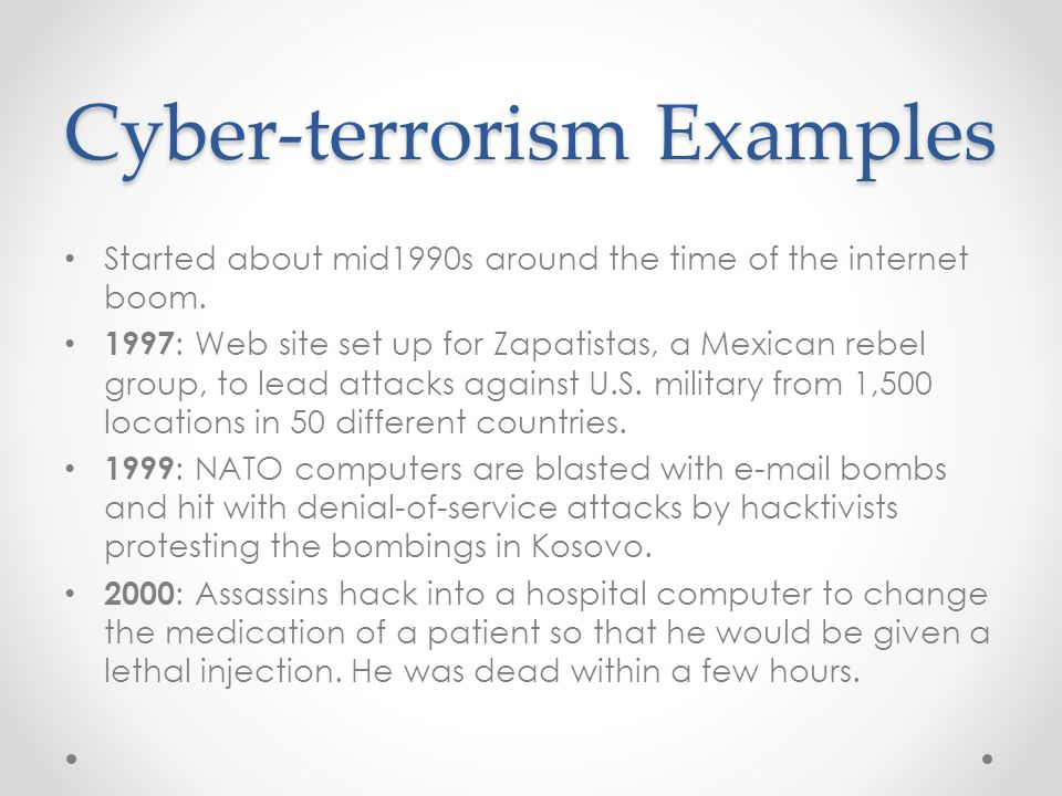 Cyber-terrorism Examples Started about mid1990s around the time of the internet boom.