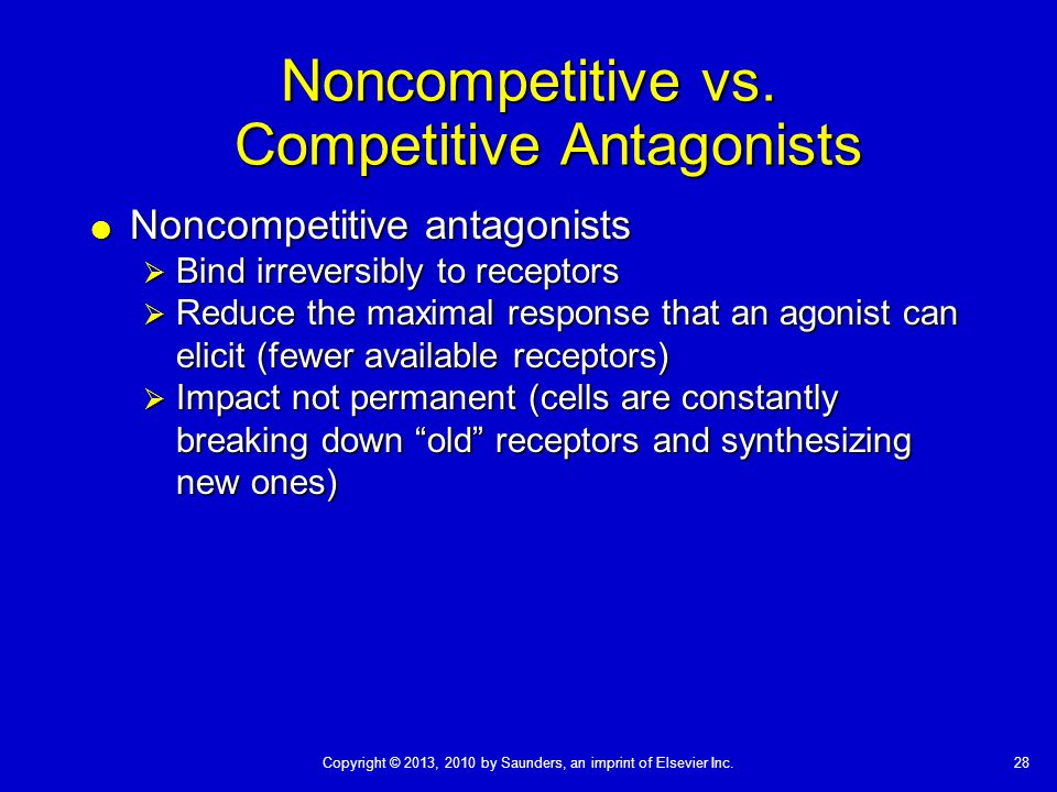 28Copyright © 2013, 2010 by Saunders, an imprint of Elsevier Inc. Noncompetitive vs. Competitive Antagonists  Noncompetitive antagonists  Bind irrev
