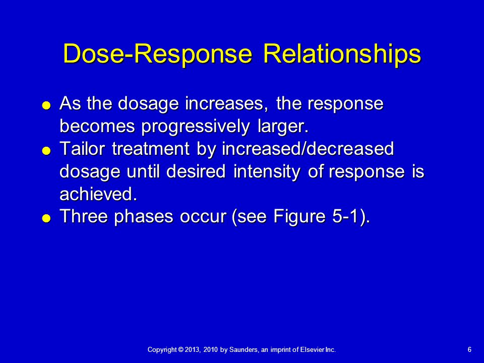 6Copyright © 2013, 2010 by Saunders, an imprint of Elsevier Inc. Dose-Response Relationships  As the dosage increases, the response becomes progressi