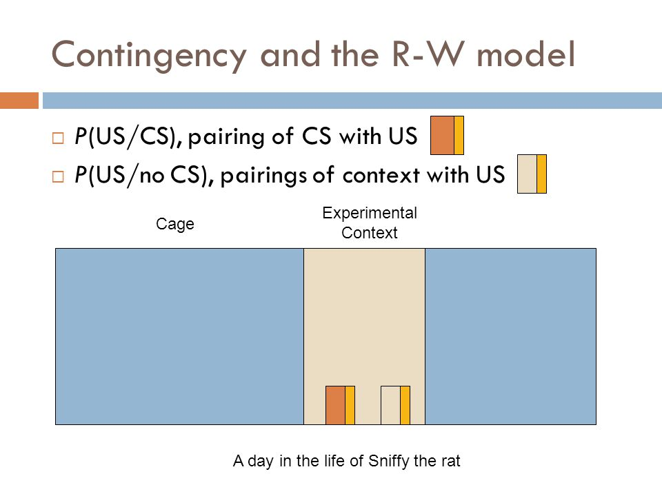 Contingency and the R-W model  P(US/CS), pairing of CS with US  P(US/no CS), pairings of context with US Cage Experimental Context A day in the life