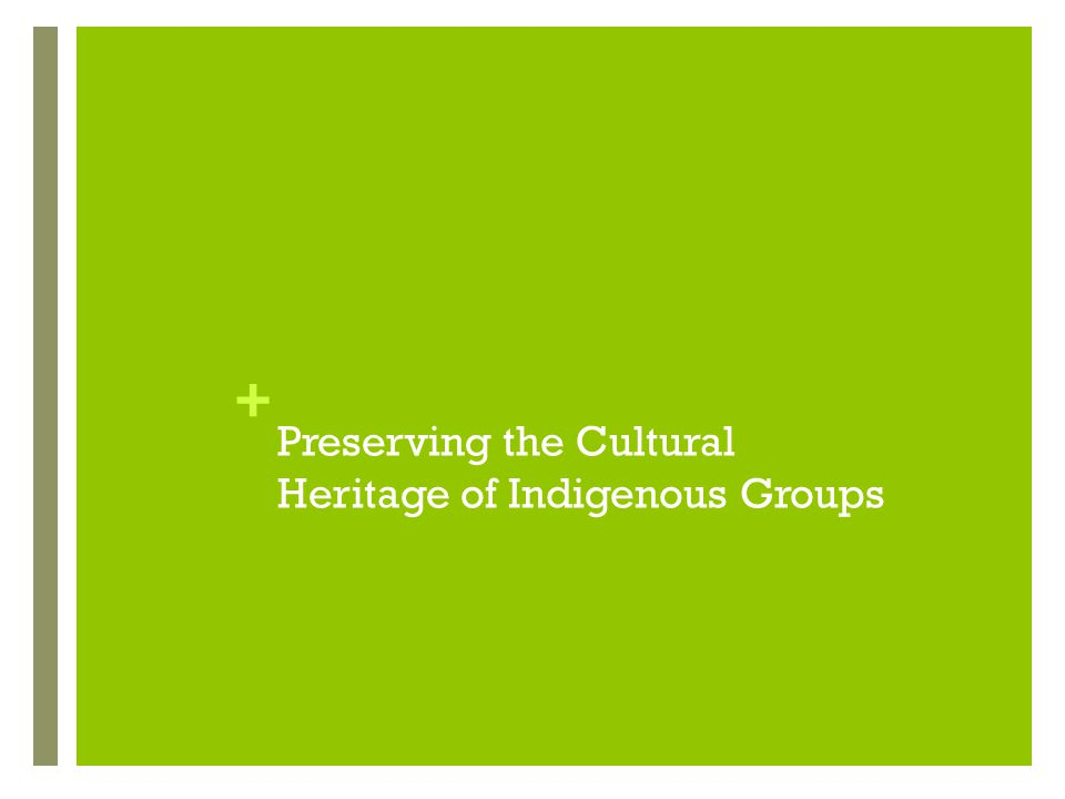 + Preserving the Cultural Heritage of Indigenous Groups