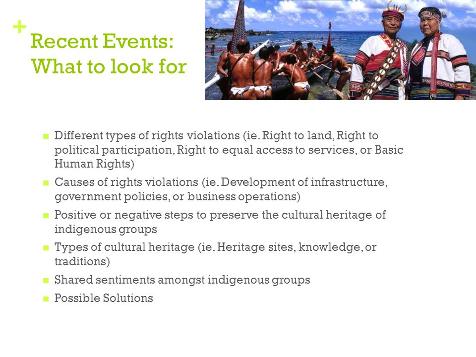 + Recent Events: What to look for Different types of rights violations (ie. Right to land, Right to political participation, Right to equal access to