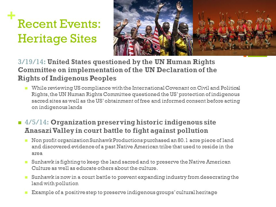+ Recent Events: Heritage Sites 3/19/14: United States questioned by the UN Human Rights Committee on implementation of the UN Declaration of the Righ