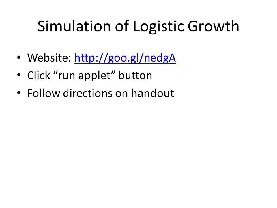 "Simulation of Logistic Growth Website: http://goo.gl/nedgAhttp://goo.gl/nedgA Click ""run applet"" button Follow directions on handout"