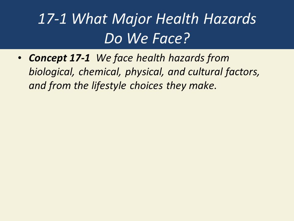 17-1 What Major Health Hazards Do We Face? Concept 17-1 We face health hazards from biological, chemical, physical, and cultural factors, and from the