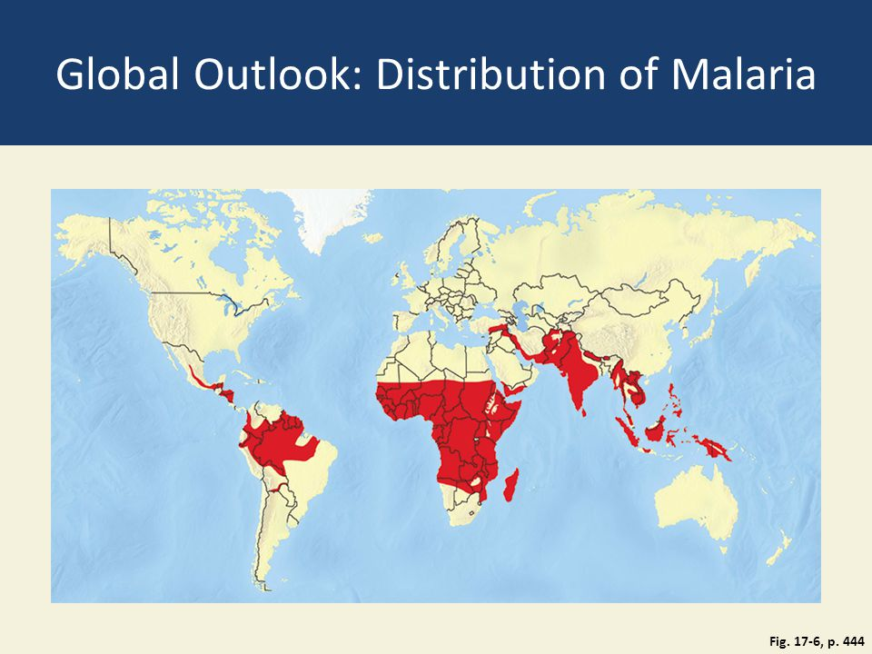 Global Outlook: Distribution of Malaria Fig. 17-6, p. 444