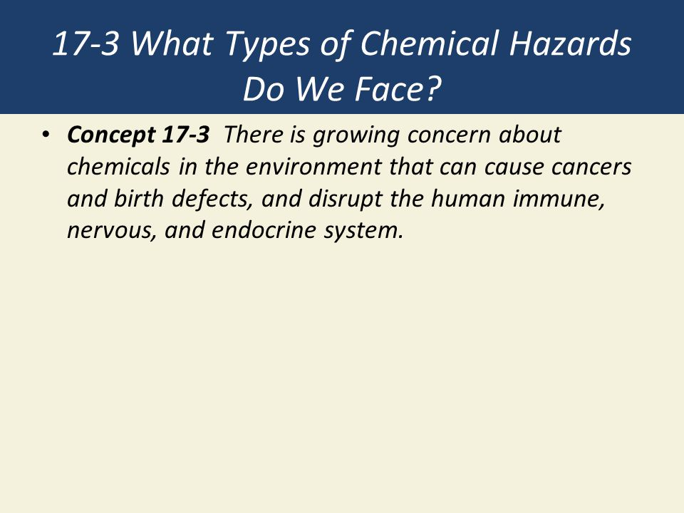 17-3 What Types of Chemical Hazards Do We Face? Concept 17-3 There is growing concern about chemicals in the environment that can cause cancers and bi