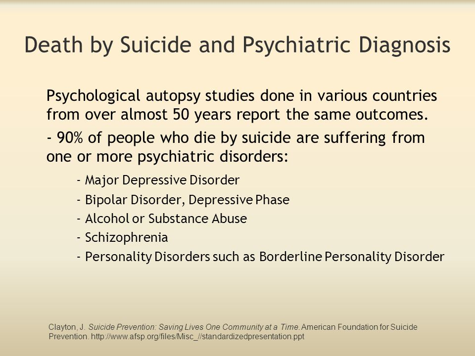 Death by Suicide and Psychiatric Diagnosis Psychological autopsy studies done in various countries from over almost 50 years report the same outcomes.