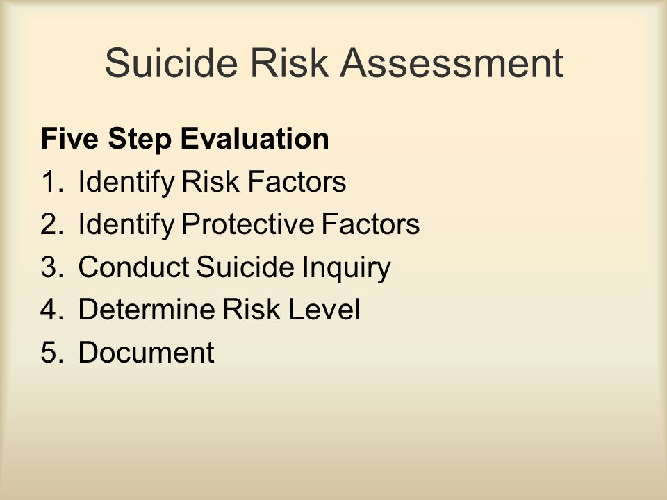 Suicide Risk Assessment Five Step Evaluation 1.Identify Risk Factors 2.Identify Protective Factors 3.Conduct Suicide Inquiry 4.Determine Risk Level 5.