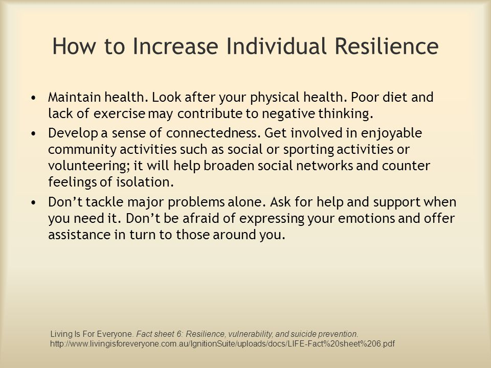 Maintain health. Look after your physical health. Poor diet and lack of exercise may contribute to negative thinking. Develop a sense of connectedness