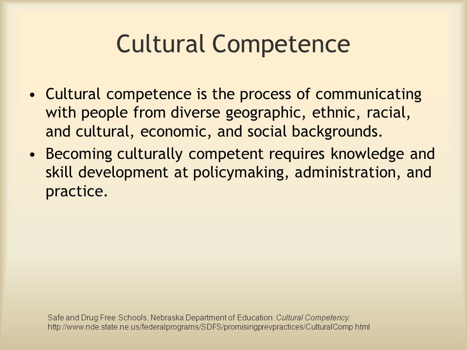 Cultural Competence Cultural competence is the process of communicating with people from diverse geographic, ethnic, racial, and cultural, economic, a