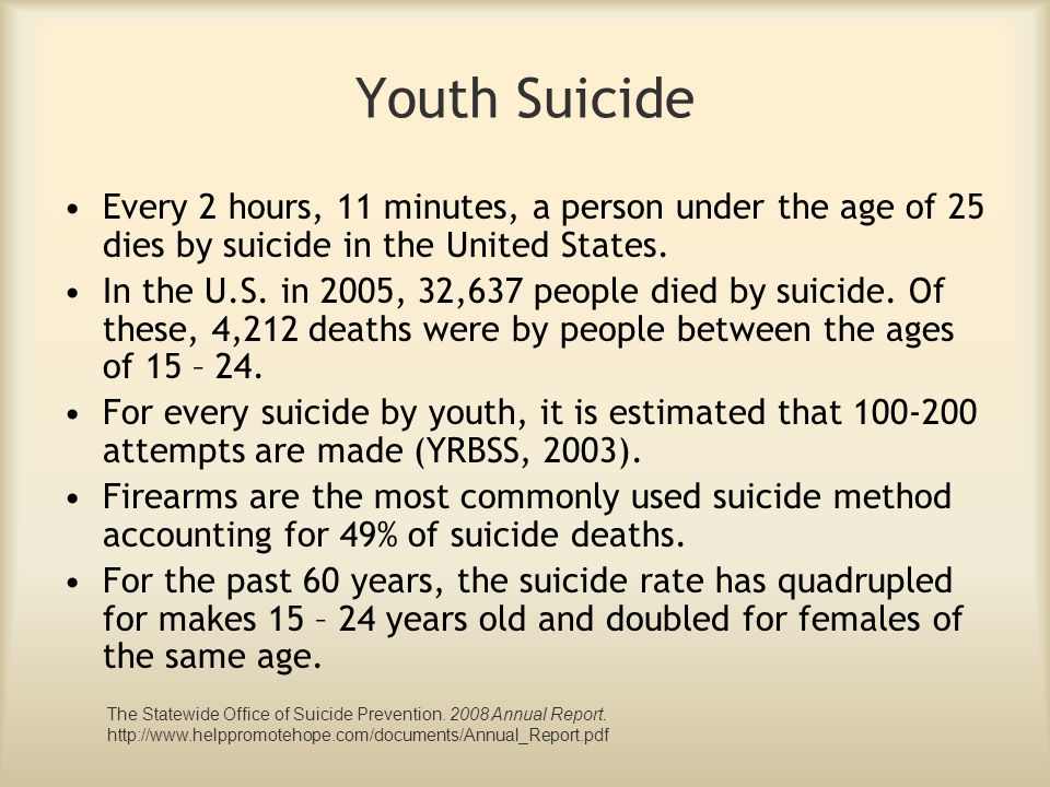 Youth Suicide Every 2 hours, 11 minutes, a person under the age of 25 dies by suicide in the United States. In the U.S. in 2005, 32,637 people died by