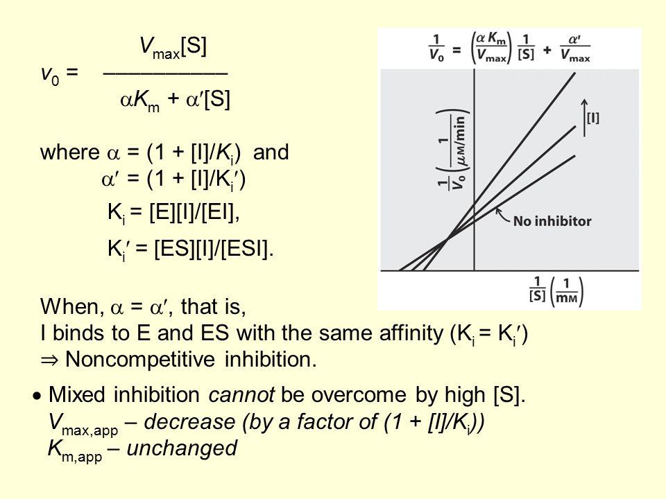 V max [S] v 0 = ––––––––––  K m +  [S] where  = (1 + [I]/K i ) and  = (1 + [I]/K i ) K i = [E][I]/[EI], K i = [ES][I]/[ESI]. When,  = , that