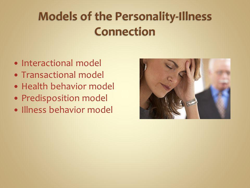 Interactional model Transactional model Health behavior model Predisposition model Illness behavior model