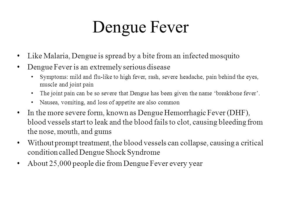Dengue Fever Like Malaria, Dengue is spread by a bite from an infected mosquito Dengue Fever is an extremely serious disease Symptoms: mild and flu-like to high fever, rash, severe headache, pain behind the eyes, muscle and joint pain The joint pain can be so severe that Dengue has been given the name 'breakbone fever'.