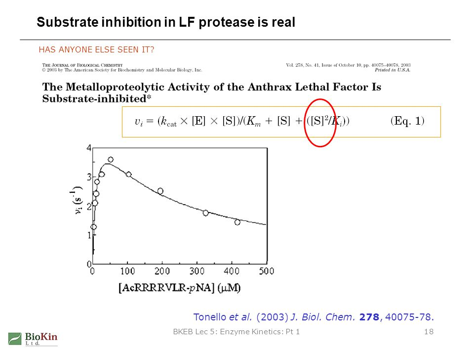BKEB Lec 5: Enzyme Kinetics: Pt 118 Substrate inhibition in LF protease is real HAS ANYONE ELSE SEEN IT? Tonello et al. (2003) J. Biol. Chem. 278, 400