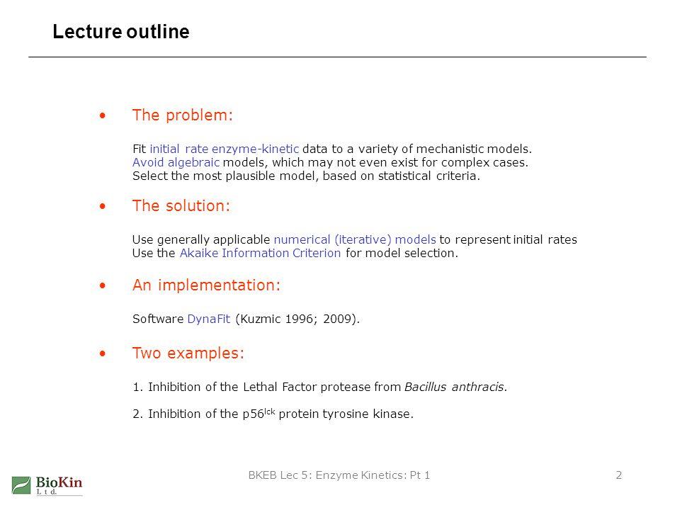 BKEB Lec 5: Enzyme Kinetics: Pt 113 Collect experimental data at varied [S] and [I] THE RAW DATA [I] = 0 [I] = 0.5 M [I] = 1.0 M [I] = 2.0 M