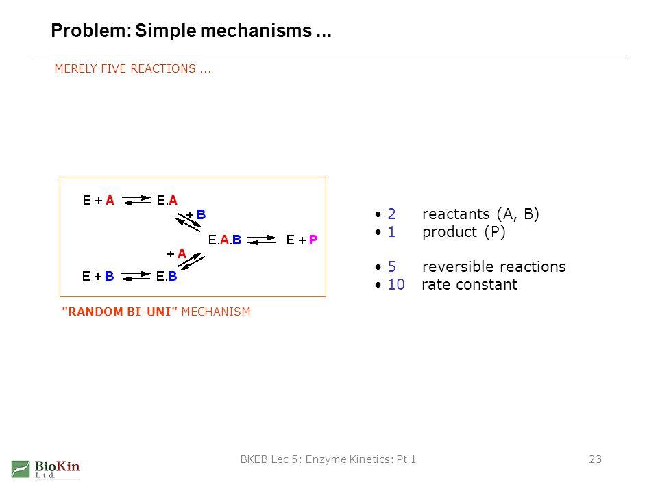 BKEB Lec 5: Enzyme Kinetics: Pt 123 Problem: Simple mechanisms... MERELY FIVE REACTIONS... 2 reactants (A, B) 1 product (P) 5 reversible reactions 10