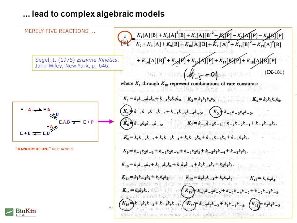 BKEB Lec 5: Enzyme Kinetics: Pt 124... lead to complex algebraic models Segel, I. (1975) Enzyme Kinetics. John Wiley, New York, p. 646.