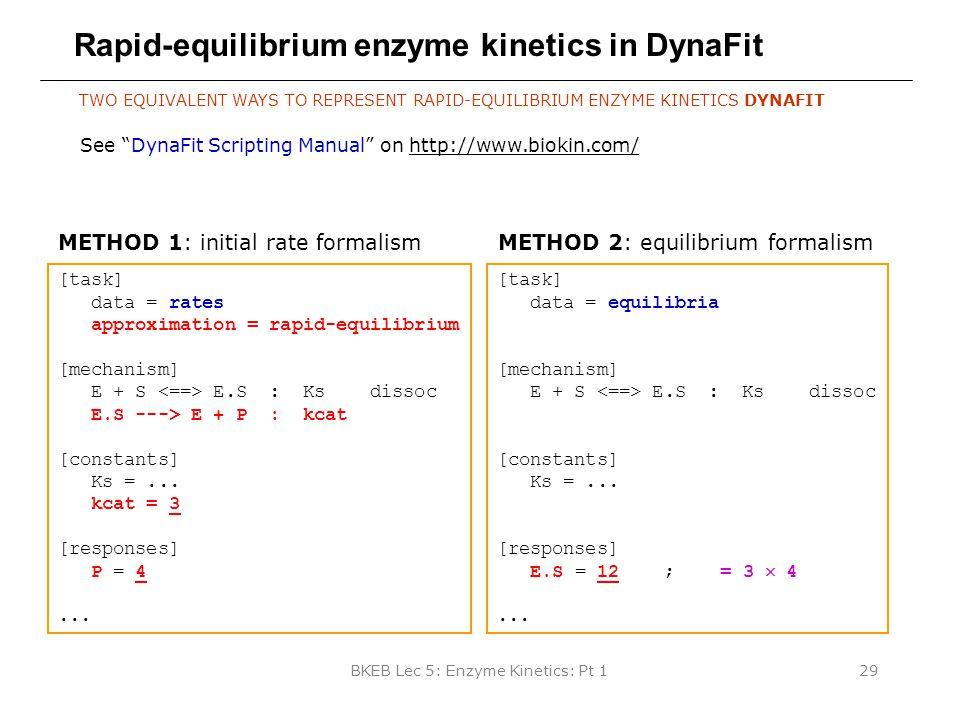 BKEB Lec 5: Enzyme Kinetics: Pt 129 Rapid-equilibrium enzyme kinetics in DynaFit TWO EQUIVALENT WAYS TO REPRESENT RAPID-EQUILIBRIUM ENZYME KINETICS DY