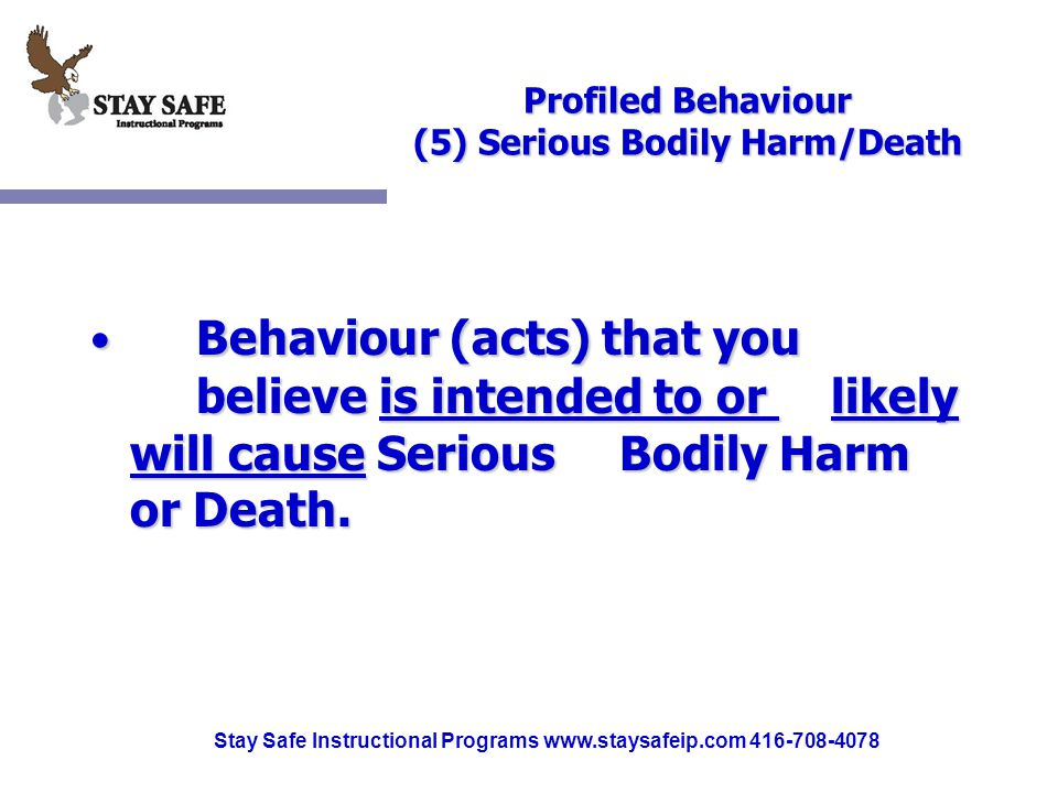 Stay Safe Instructional Programs www.staysafeip.com 416-708-4078 Profiled Behaviour (5) Serious Bodily Harm/Death Behaviour (acts) that you believe is