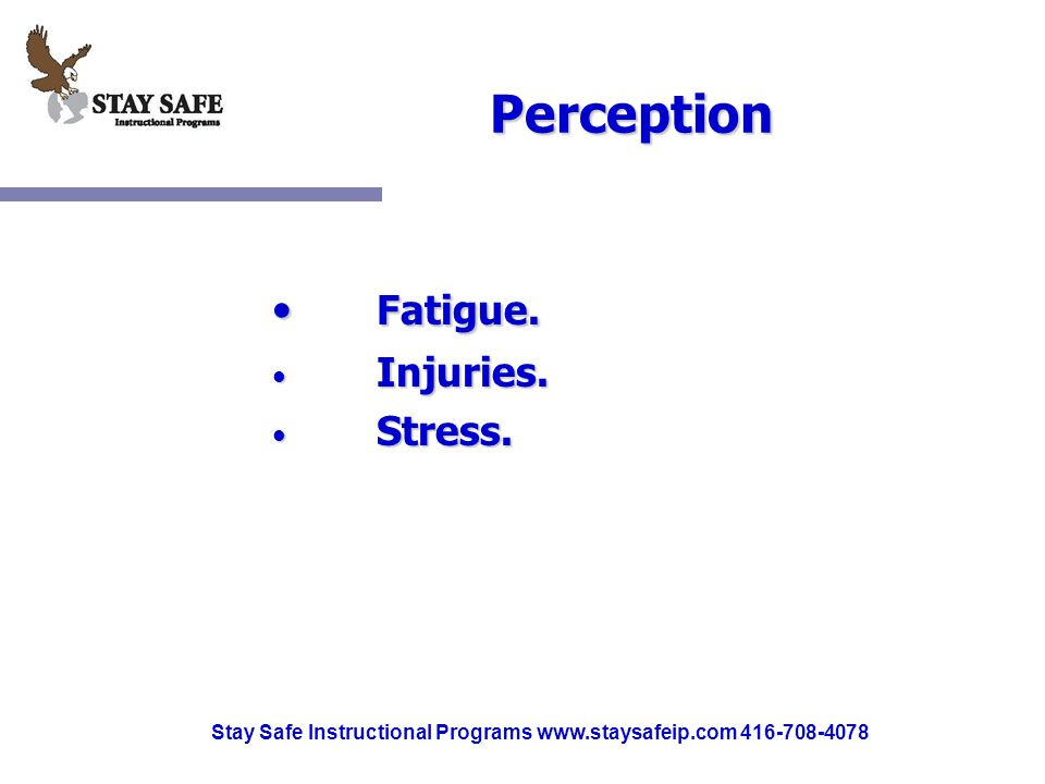 Stay Safe Instructional Programs www.staysafeip.com 416-708-4078 Perception Fatigue.