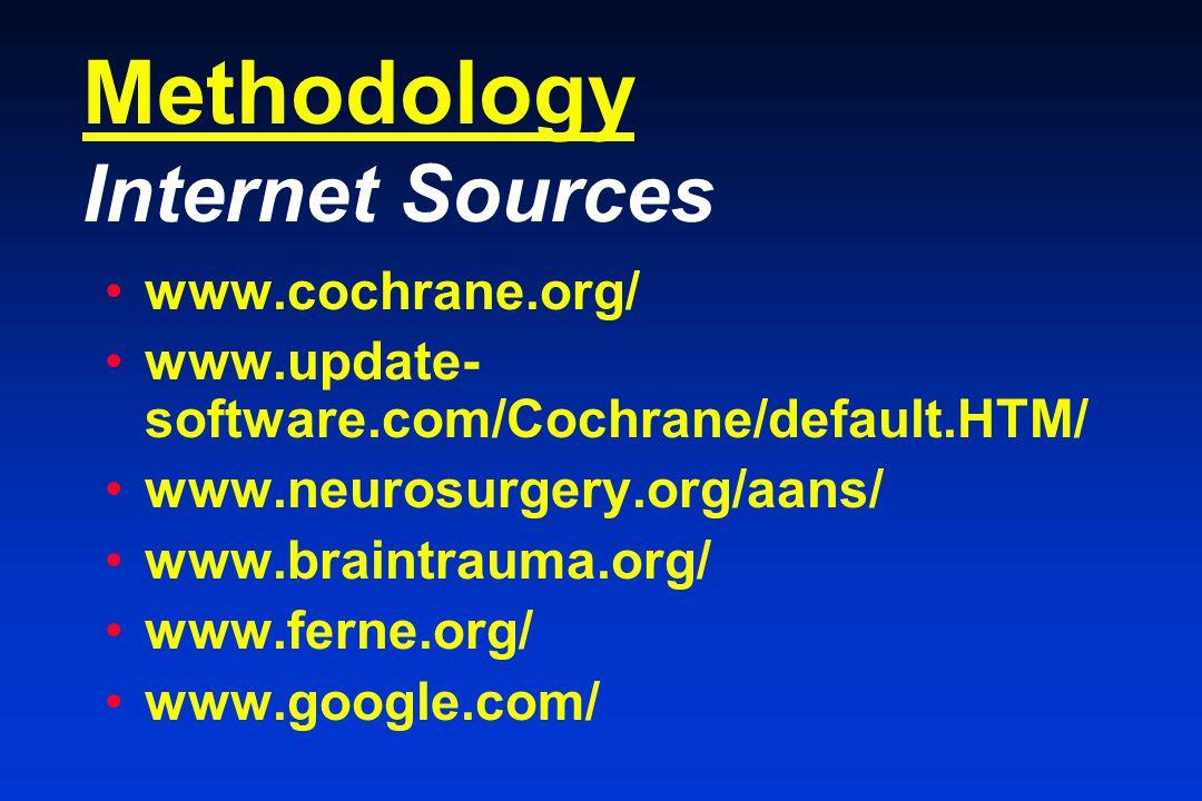 Methodology Internet Sources www.cochrane.org/ www.update- software.com/Cochrane/default.HTM/ www.neurosurgery.org/aans/ www.braintrauma.org/ www.ferne.org/ www.google.com/