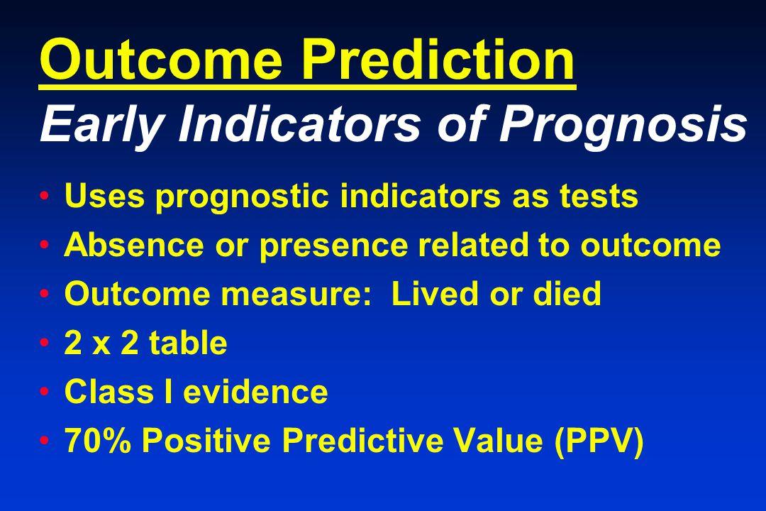 Outcome Prediction Early Indicators of Prognosis Uses prognostic indicators as tests Absence or presence related to outcome Outcome measure: Lived or died 2 x 2 table Class I evidence 70% Positive Predictive Value (PPV)
