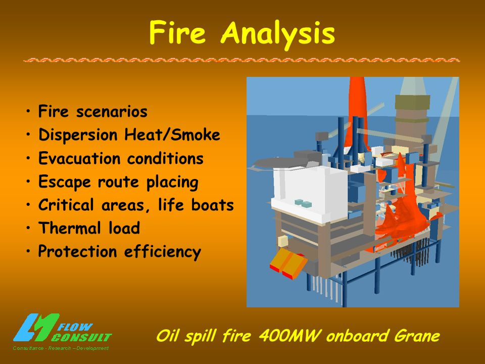 Fire Analysis Fire scenarios Dispersion Heat/Smoke Evacuation conditions Escape route placing Critical areas, life boats Thermal load Protection efficiency Oil spill fire 400MW onboard Grane