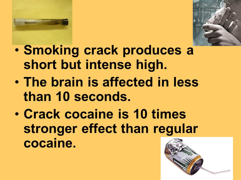 Smoking crack produces a short but intense high. The brain is affected in less than 10 seconds.
