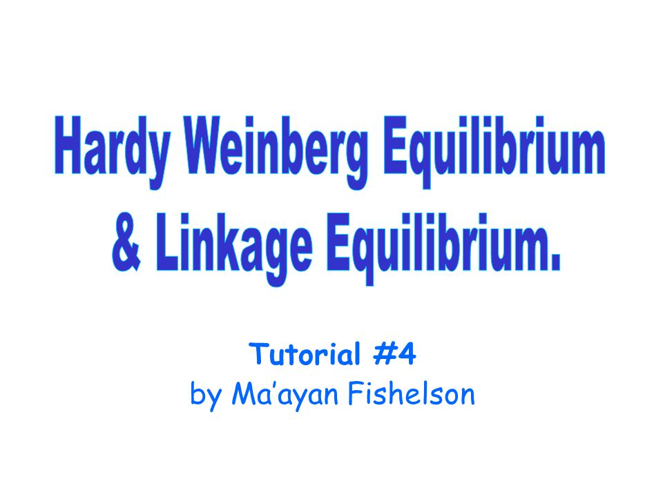 Hardy-Weinberg equilibrium Hardy-Weinberg equilibrium: If the allele frequencies are P(a)=p and P(A)=q, then, under some assumptions: P(Aa)= 2pq, P(AA)= p 2, P(aa)= q 2.