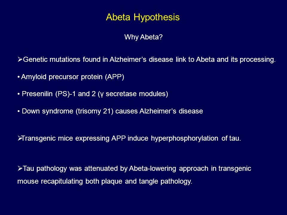 Abeta Hypothesis Why Abeta.