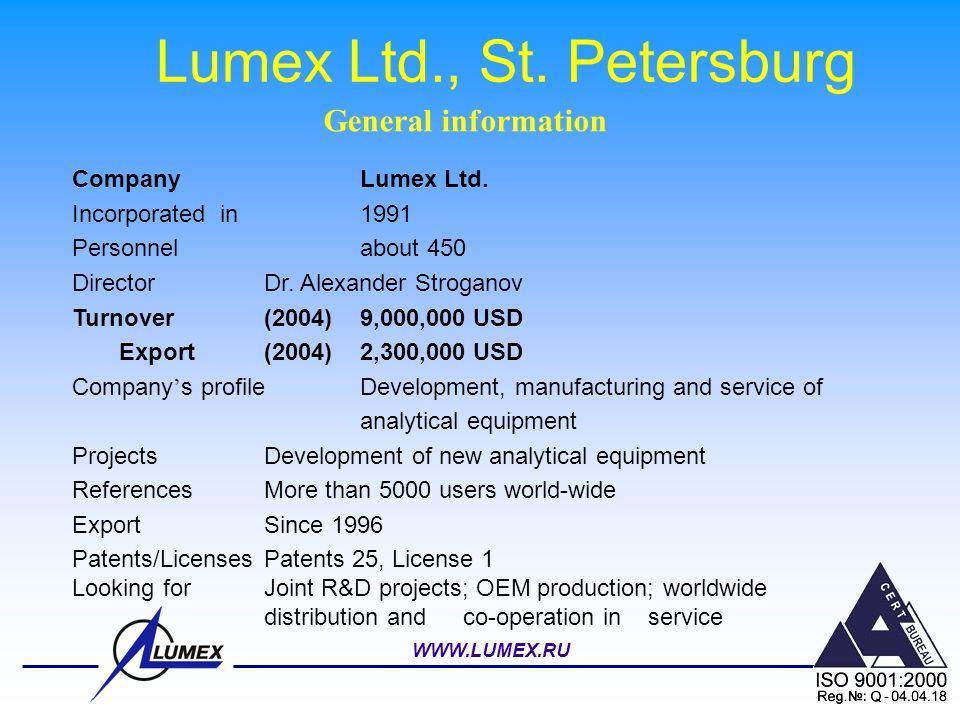 WWW.LUMEX.RU Lumex Ltd., St. Petersburg CompanyLumex Ltd. Incorporated in 1991 Personnel about 450 DirectorDr. Alexander Stroganov Turnover (2004)9,00