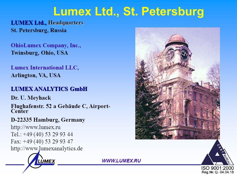 WWW.LUMEX.RU Lumex Ltd., St. Petersburg LUMEX Ltd., Headquarters St. Petersburg, Russia OhioLumex Company, Inc., Twinsburg, Ohio, USA Lumex Internatio