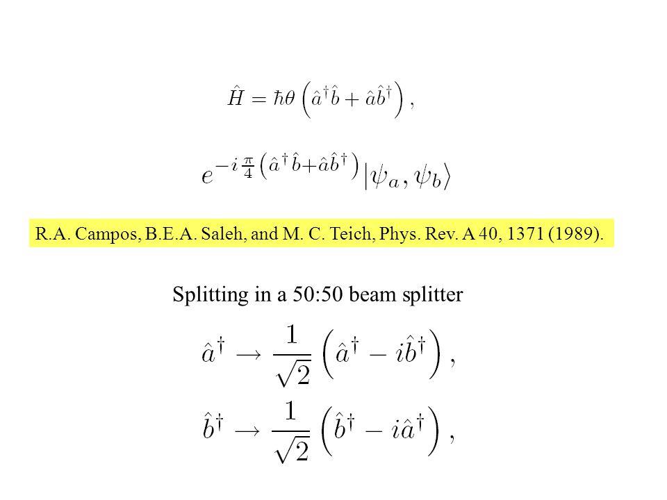 ICO-21 2008 Splitting in a 50:50 beam splitter R.A.