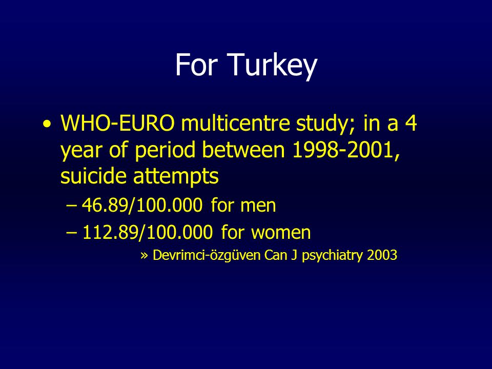 For Turkey WHO-EURO multicentre study; in a 4 year of period between 1998-2001, suicide attempts –46.89/100.000 for men –112.89/100.000 for women »Devrimci-özgüven Can J psychiatry 2003