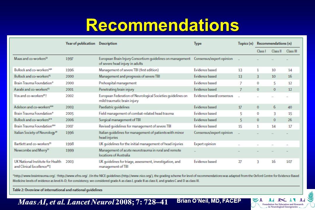 Brian O'Neil, MD, FACEP Recommendations Maas AI, et al. Lancet Neurol 2008; 7: 728–41