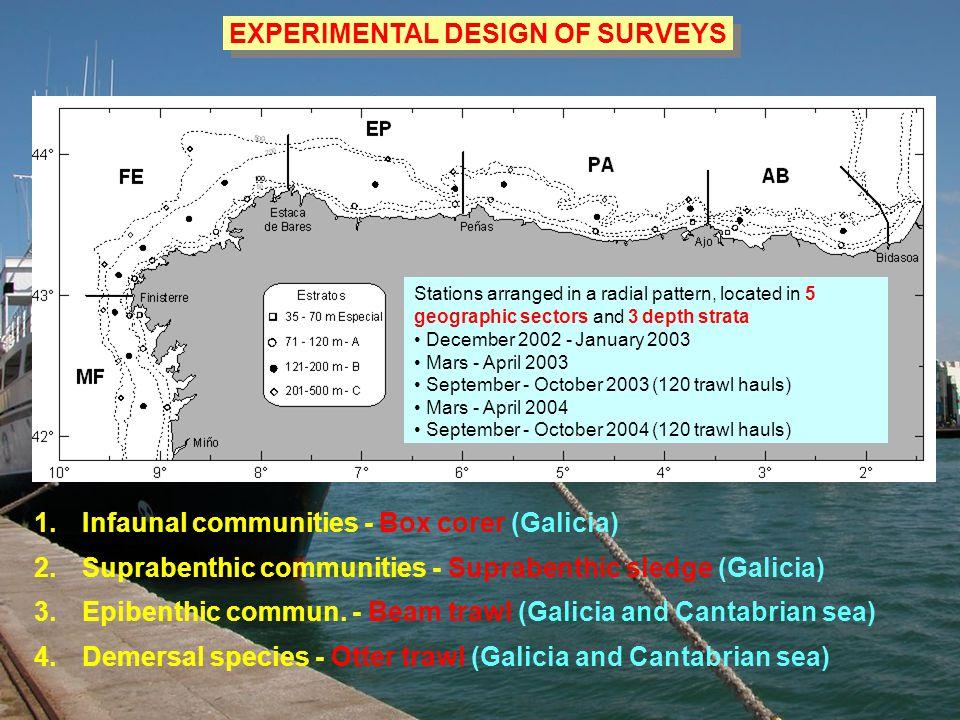 1.Infaunal communities - Box corer (Galicia) 2.Suprabenthic communities - Suprabenthic sledge (Galicia) 3.Epibenthic commun.