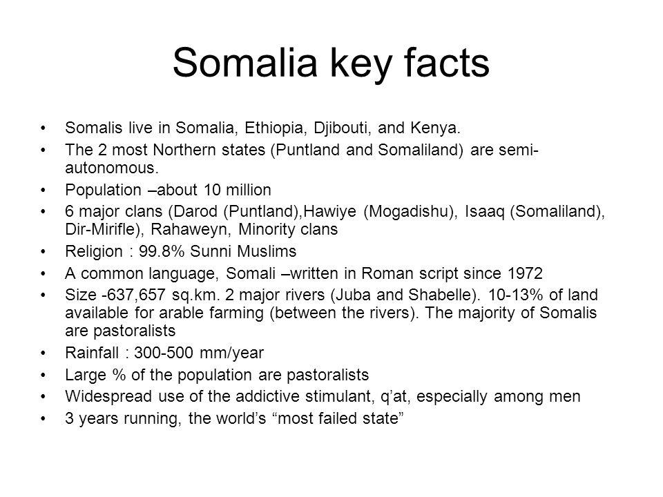 Somalia key facts Somalis live in Somalia, Ethiopia, Djibouti, and Kenya.